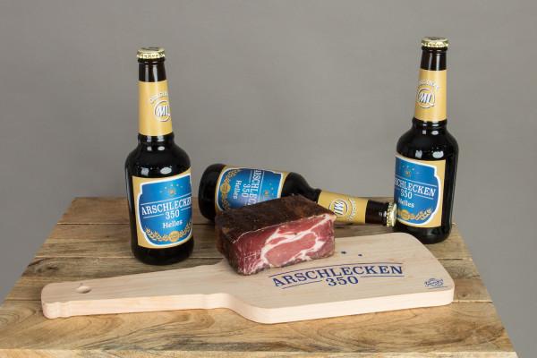 Arschlecken 350 Brotzeit-Set Seppspeck, mit Schinkenspeck & 3 Flaschen Bier 0,33l inkl. Brett