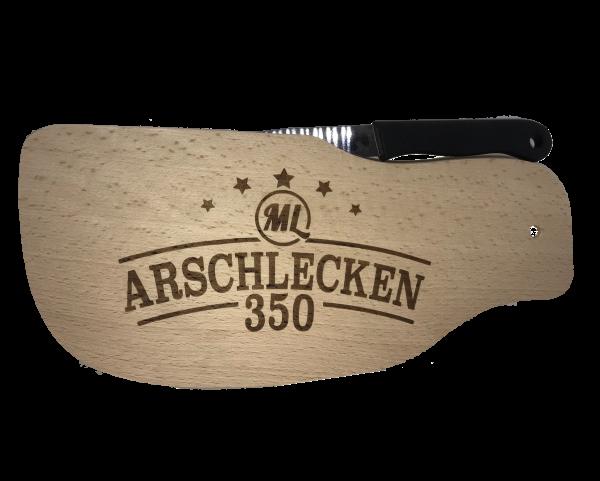 Brotzeitbrettl Variante Steak mit Messer Arschlecken350