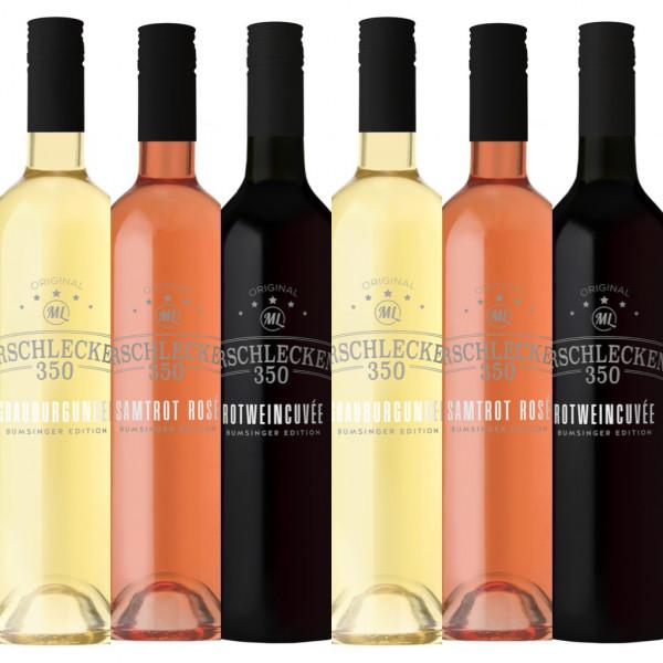 Weinauswahl Rot Rosé Weiß je 0,75l 6er Set Arschlecken 350
