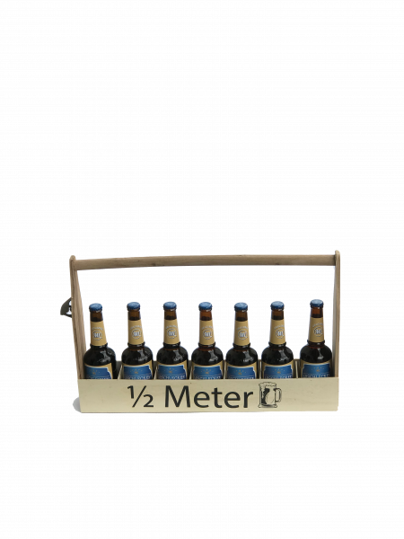 Holz-Flaschenhalter 1/2 - Meter mit 7 Arschlecken 350 Bier Helles