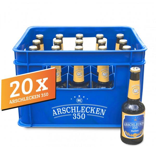 20 Flaschen Arschlecken 350 Bier Helles 0,33 Liter Flasche inclusive Pfand