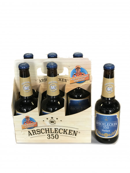 Sixpack Arschlecken 350 Bier Helles 0,33 Liter Flasche inclusive Pfand 6-er Pack