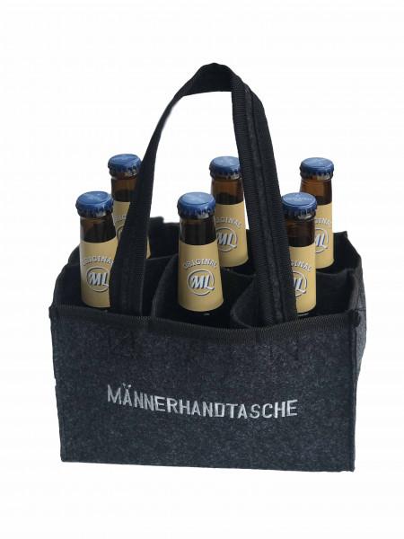 Graue Männerhandtasche mit 6 Arschlecken 350 Bier Helles