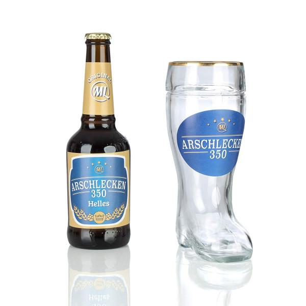 Arschlecken 350 Bierstiefel Bierglas mit Goldrand, 0,5l