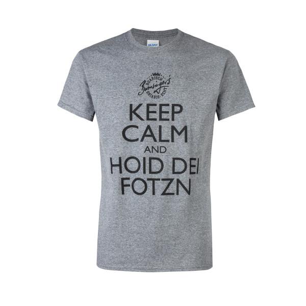 T-Shirt Keep Calm and hoid dei Fotzn Farbe grau S