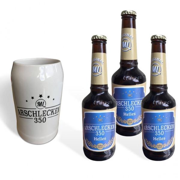 Arschlecken 350 Bierkrug 0,5l & 3 Flaschen Bier Arschlecken 350 Helles 0,33l inkl. Pfand