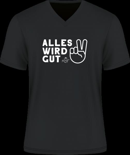 T-Shirt Alles wird gut schwarz V-Neck 100% Baumwolle