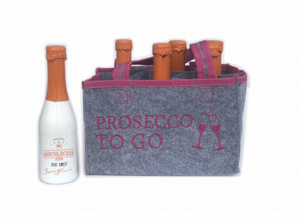 Filzhandtasche Prosecco to Go mit 6 Flaschen Sekt 0,2l