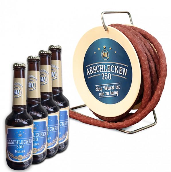 Arschlecken 350 Wursttrommel Bierset, Pikante Snack-Wurst, 3,5 m lang & 4 Flaschen Bier 0,33l