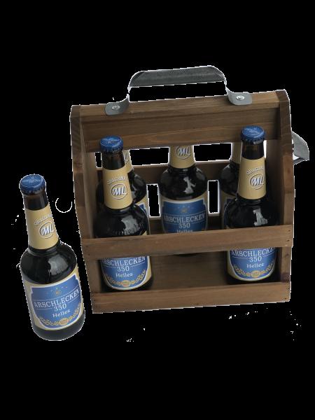 Holz-Flaschenhalter mit Metall-Flaschenöffner mit 6 Arschlecken 350 Bier Helles