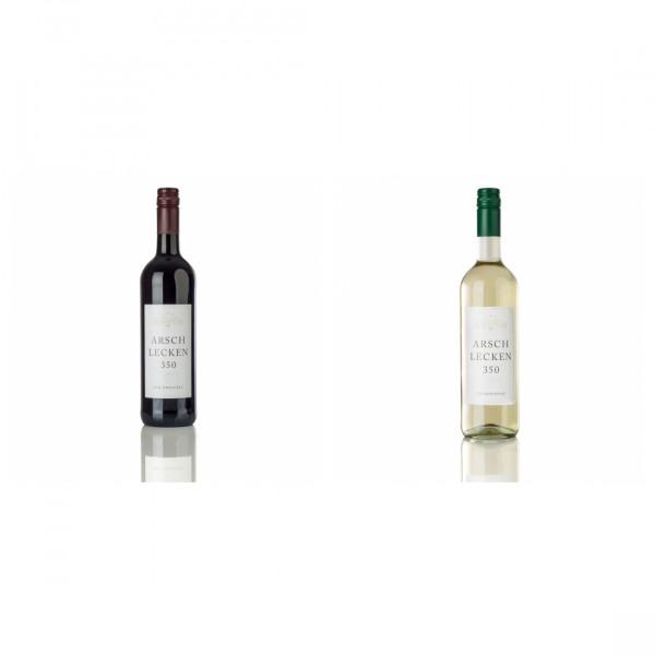 Rotwein & Weißwein 2erSet Arschlecken 350 Zweigelt & Chardonnay, je 0,75l