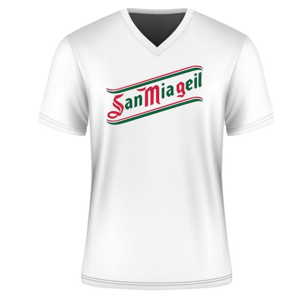 T Shirt San mia geil, weiß, V-Neck, Kurzarm, alle Größen