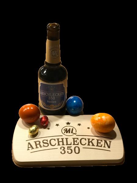 Brotzeitbrettl mit 3 Flasche Arschlecken350