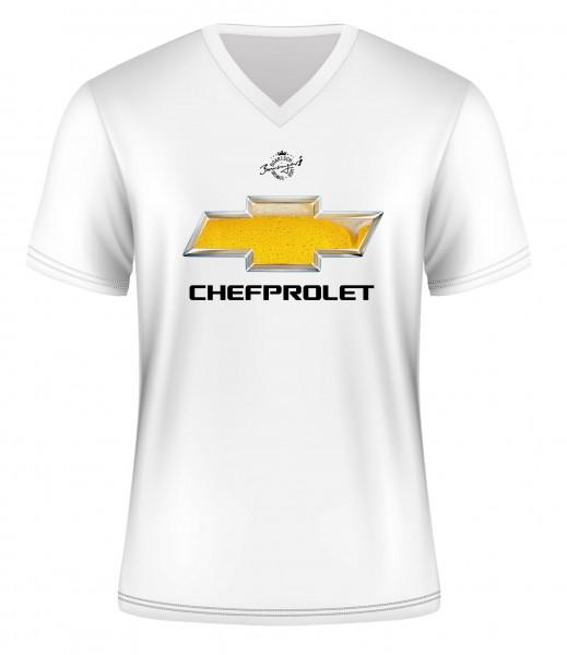 T-Shirt Chefprolet, Kurzarm, V-Neck, 100% Baumwolle, weiß