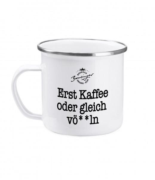 Bumsinger's Tasse Erst Kaffee, Emaille, 380ml