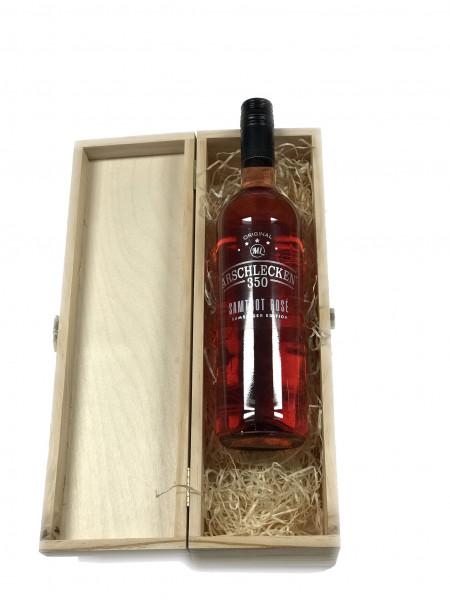 Samt Rose 0,75l Arschlecken350 in Präsentkasette mit Holzwolle